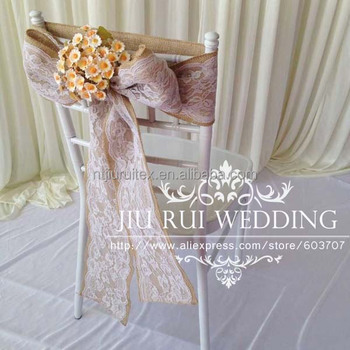 Natural Burlap Hessian Chair Sash Jute Chair Band with Lace at Middle for Rustic Wedding & Natural Burlap Hessian Chair Sash Jute Chair Band With Lace At ...