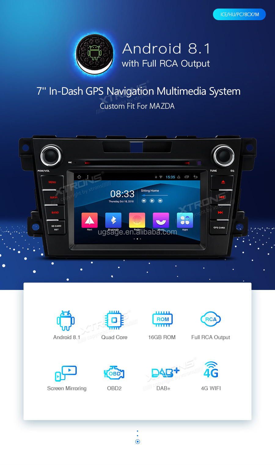 XTRONS 2 din android car dvd player per mazda cx-7 con bluetooth/dab/fm/am, centrale multimedia