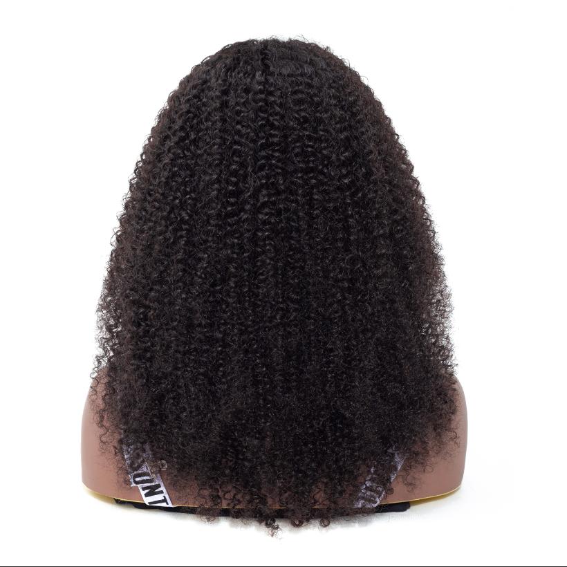 ร้อนขาย 10A เกรด Afro Kinky Curly มนุษย์ผมลูกไม้ด้านหน้าด้านหน้าสีดำผู้หญิง