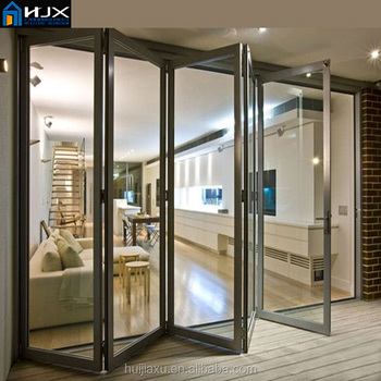 Black Double Clear Glass Soundproof Accordion Doors Buy Soundproof