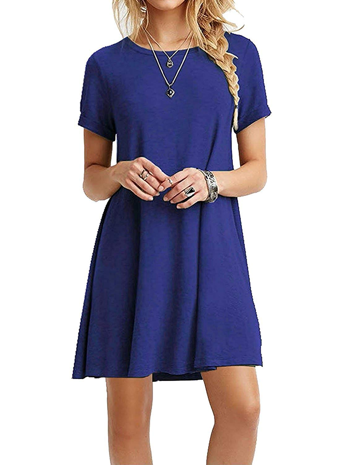 9df10f0b9d Get Quotations · WESIDOM Casual Plain T-Shirt Loose Dress