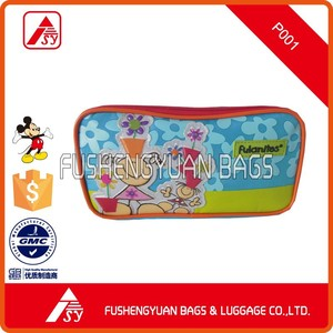 Microfiber pvc pencil case pencil bag with ruber label