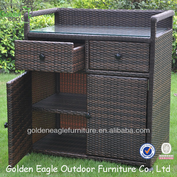 Pe Rattan & Aluminum Made Outdoor Storage Cabinet - Buy Rattan ...