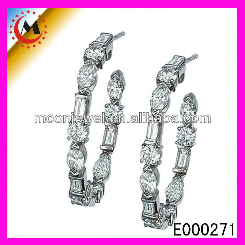 COOL STYLISH SILVER PLATED BAMBOO EARRINGS FOR HIP HOP GIRLS