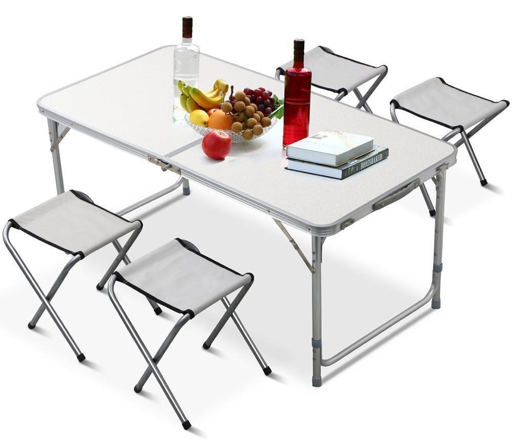 Tianye Folding <strong>Table</strong> with 4 Folding Stools Height Adjustable Aluminum Camping with Parasol Hole