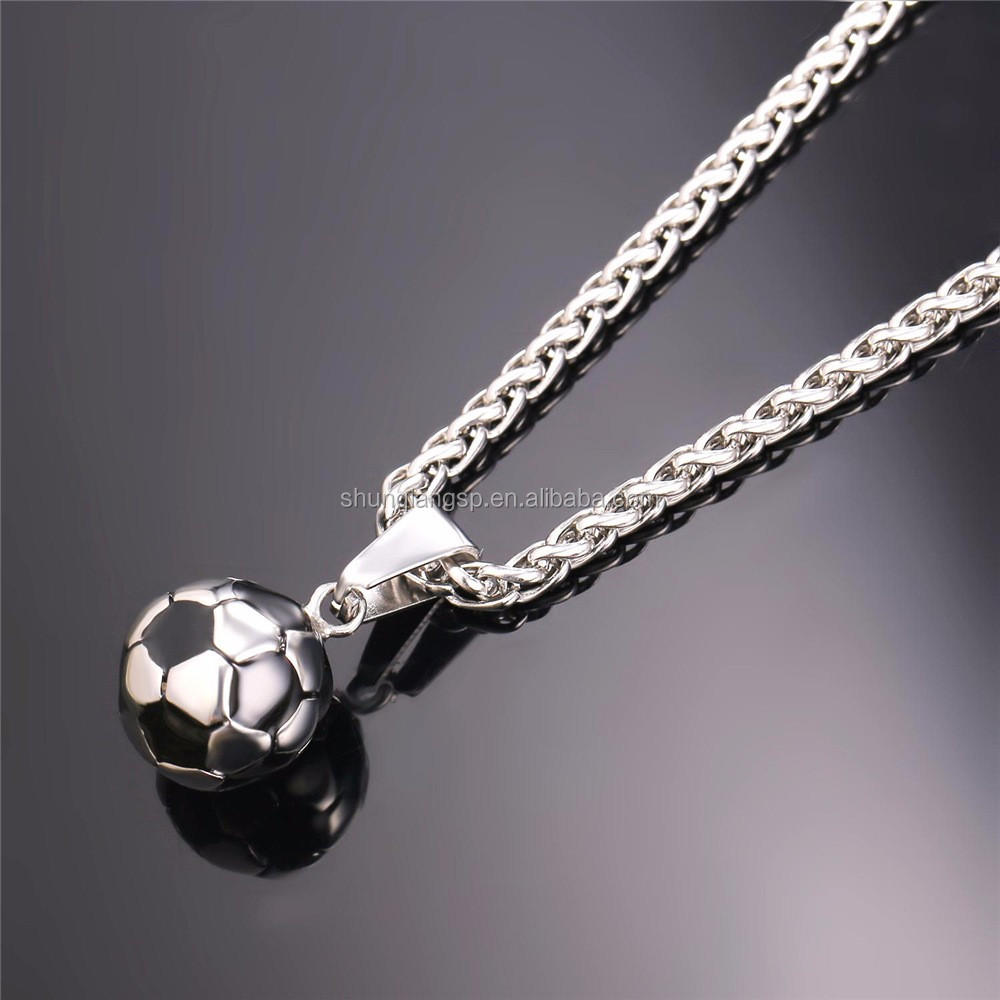 necklace jewelry pendant s ball itm ebay sport charm soccer football stainless steel