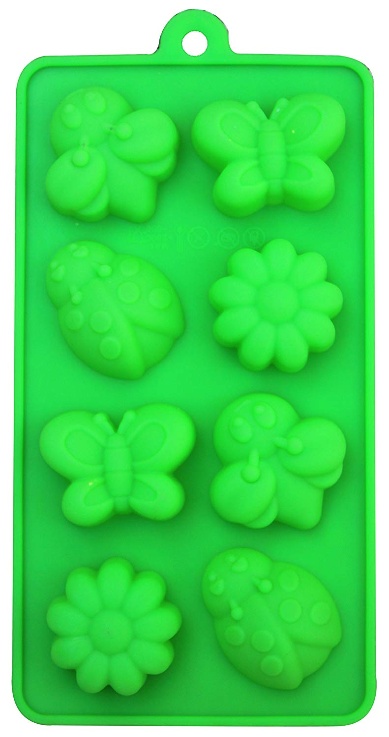 Silicone Molds Baking Chocolate Candies Dessert or Soap Ice Candle Making Molds(8 Cavity Mold) (Green, Garden)