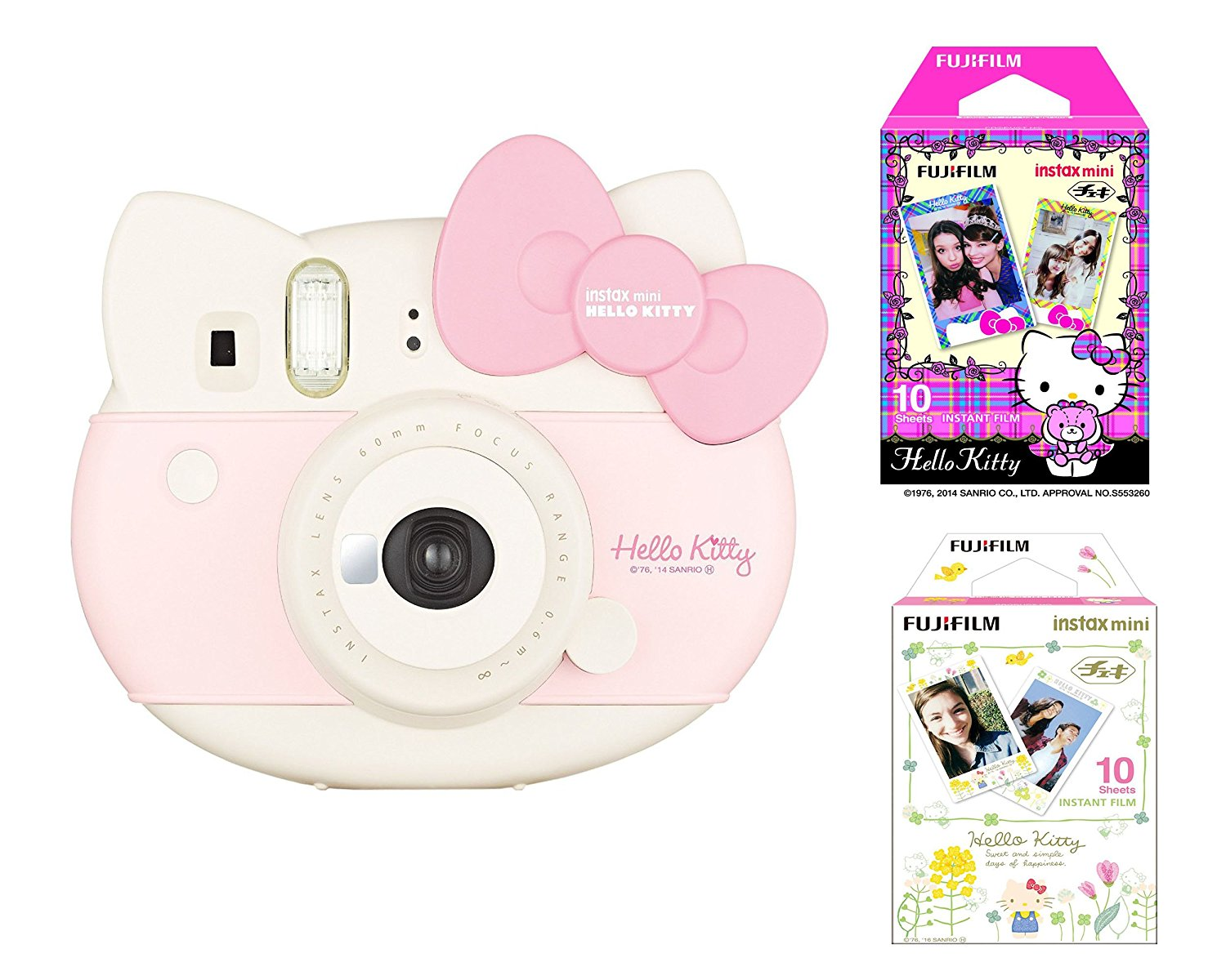Fujifilm Fuji Instax Mini Hello Kitty Sanrio Instant Film Camera Polaroid Photos 2016 Limited Edition Pink with Kitty Film 20Sheet and Card holder Affordable bundle set