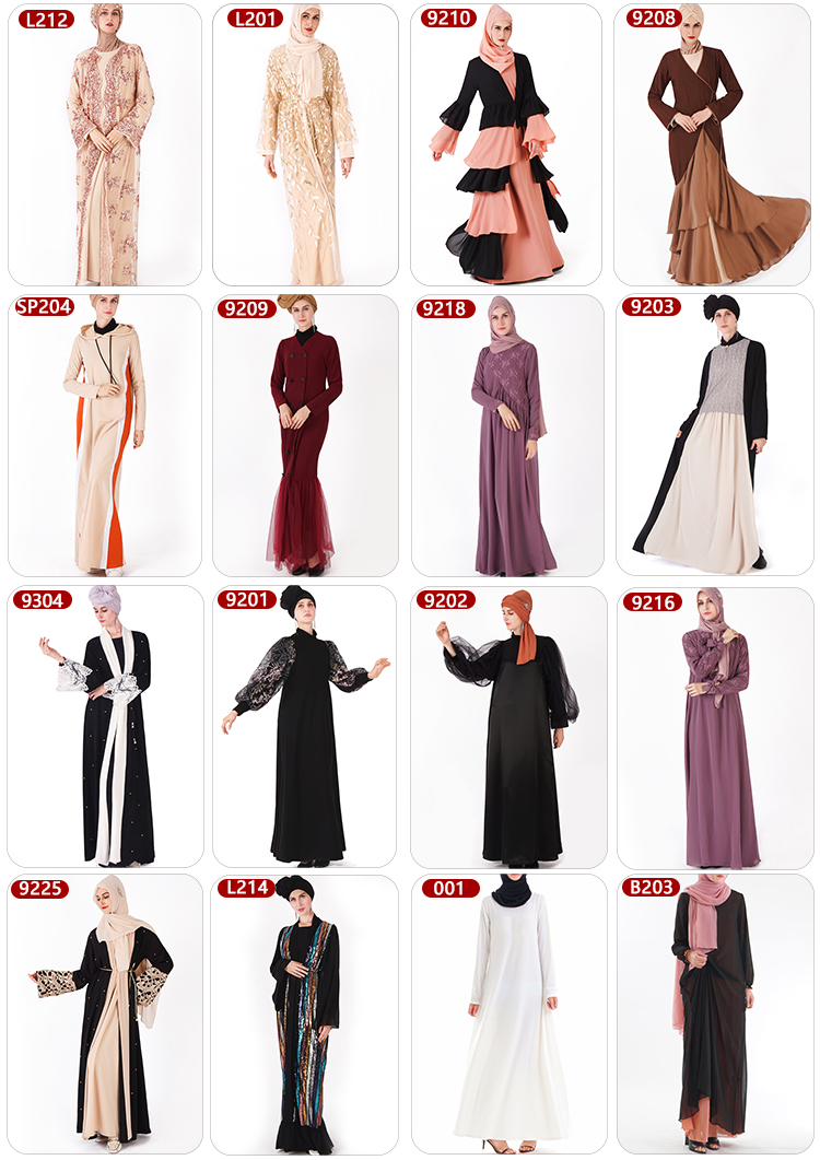 2019 Abaya Islamic Clothing Floral Sequins Open Front Kimono Long Sleeve Cardigan for Evening Prom Kaftan Abaya Muslim Dresses