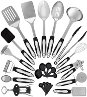 25 Piece nonstick cooking utensils cookware set best stainless steel gadgets kitchen tools