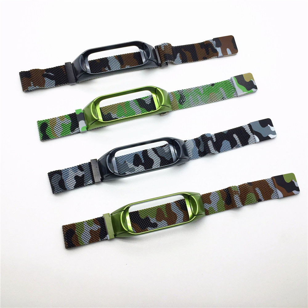 ODM Hold mi 3016 series camouflage color milanese magnetic SS watch band for Xiaomi