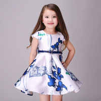 Party Dress Baby Girls Dress For Girls With Digital Floral Print Children Dress Summer A Line European Style Baby Girl Clothes