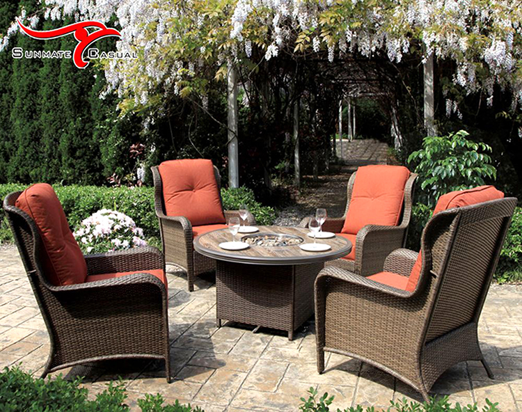 Steel Outdoor Patio Furniture Garden Rattan Wicker Round Table and Chairs Set