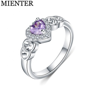 Custom fashion jewelry engagement bands ring heart shape 925 silver plated amethyst rings