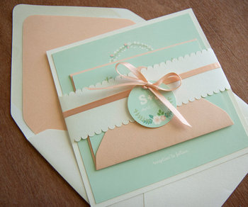 Lovely Peach Envelope Linner And Mint Cards With Colorful Printing Wedding Invitation Card Lace Band Buy Modern Vintage Lace Wedding