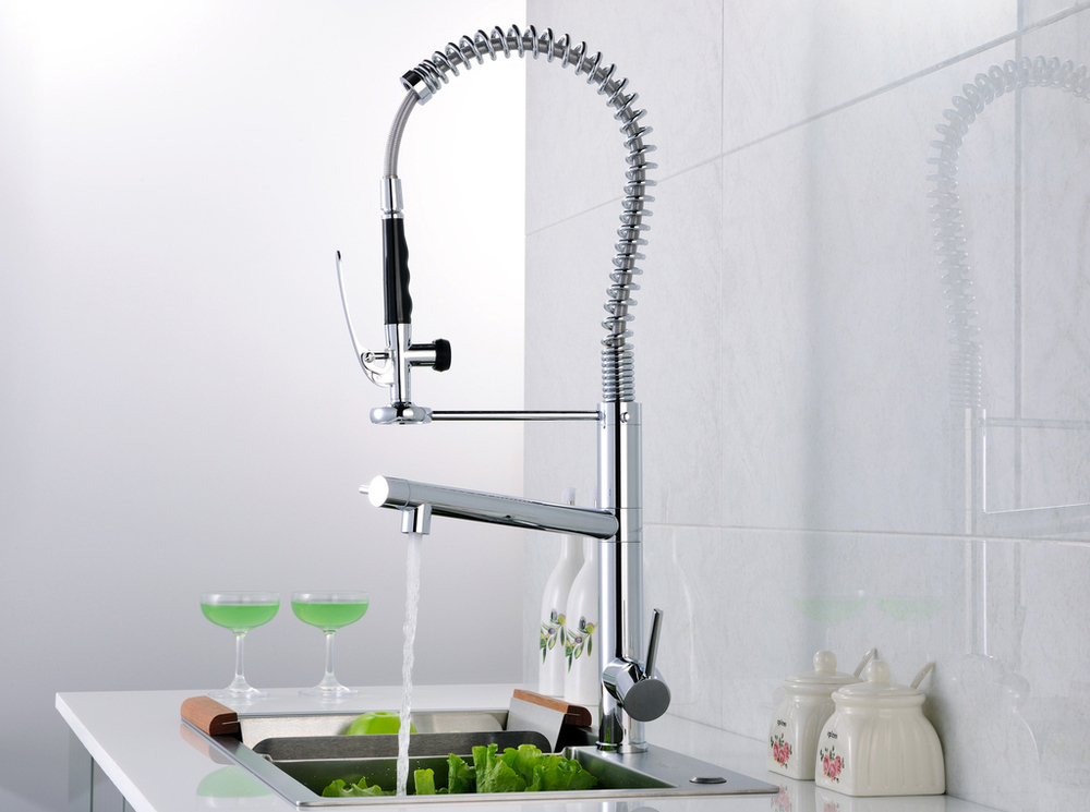 Double faucet chrome plated dual pipes faucet