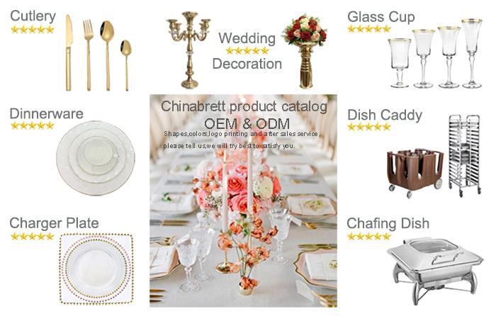 Glas Geschirr Sets Gold Teller Ladegeräte Hochzeit Dekorative