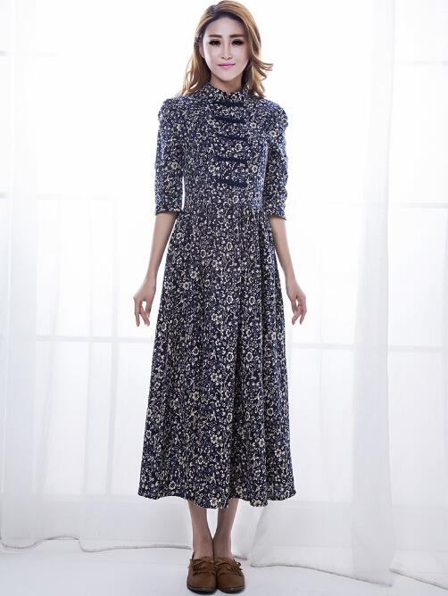 dd416005f3a99 Get Quotations · New Brand Linen Dresses Slim Chinese National Trendy Long  Vestidos Print Floral Ladies Vintage Cotton Plus