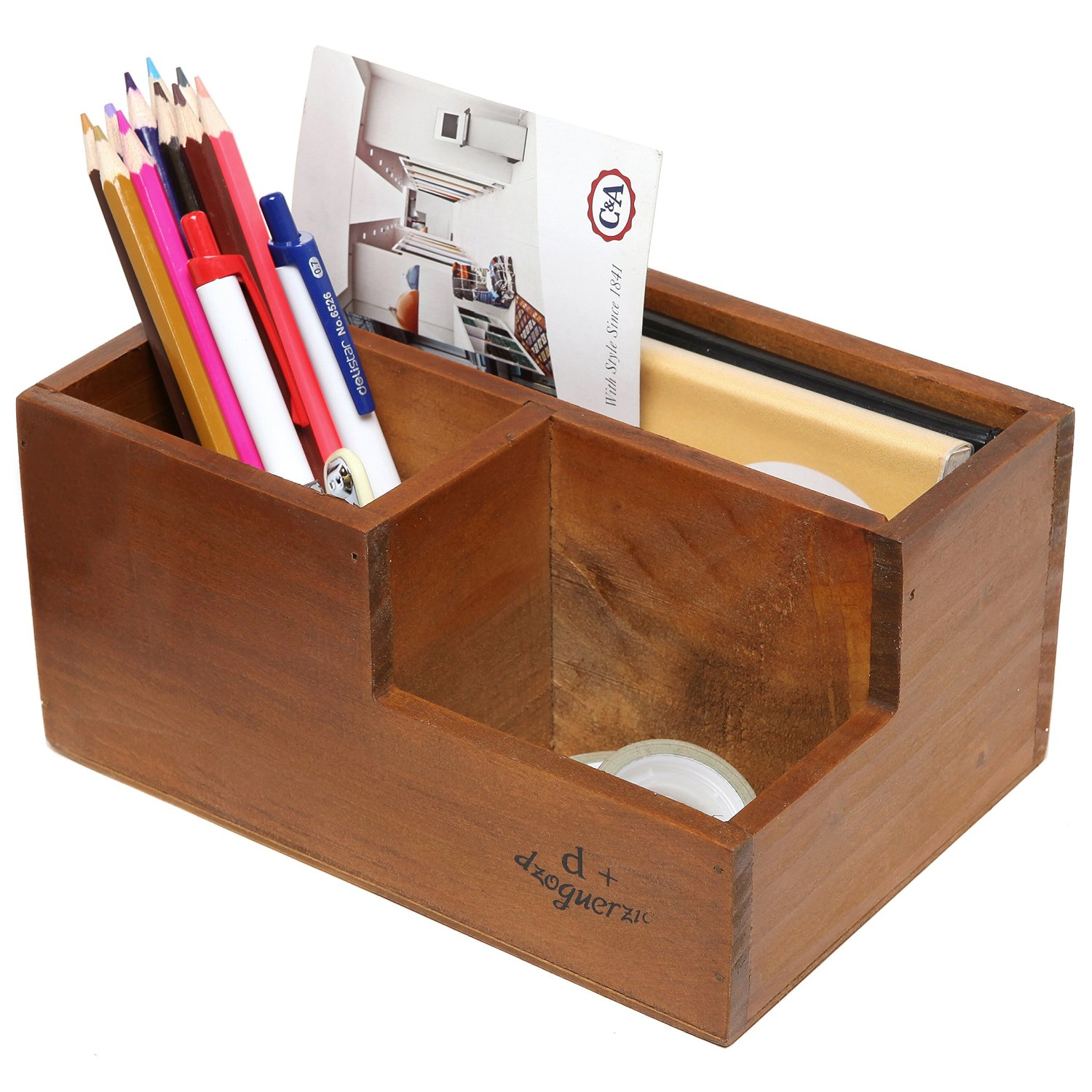 3 Compartment Classic Brown Wood Desktop Office Supply Caddy / Pen Holder /  Mail Holder /