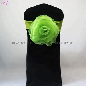 hand made wedding organza flower chair sash with spandex band