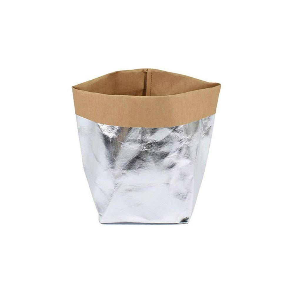FANSONG Grow Bags/Washable Kraft Bag/Square Bags/Tabletop Pot Planting Bag for Garden Plant Outdoor - 3 Pack, Silver(Size: 3.15x3.15x5.91inch)