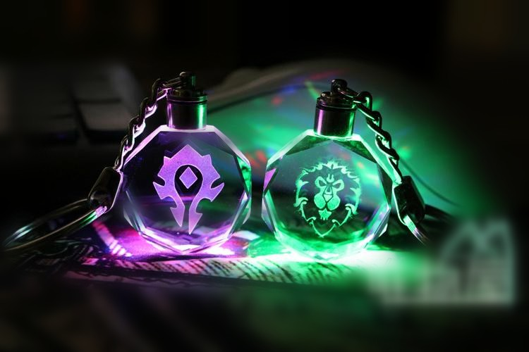 world of warcraft horde crystal keychain with led light for game souvenir