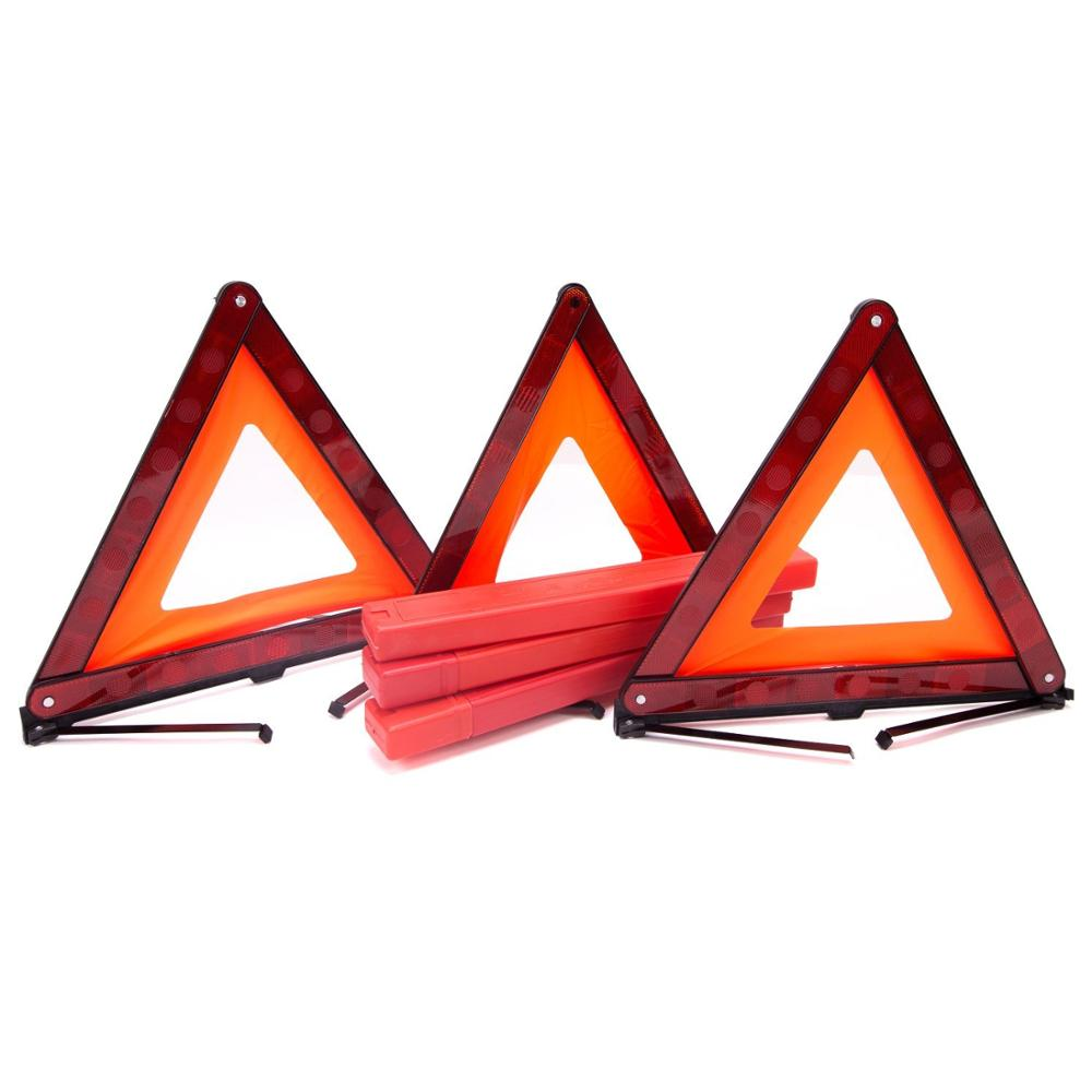 Bigetaige Warning Triangle DOT Approved 3PK Reflective Warning Road Safety Triangle Kit