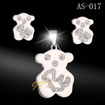 Fashion bear jewelry set stainless steel pendant and earrings with crystal