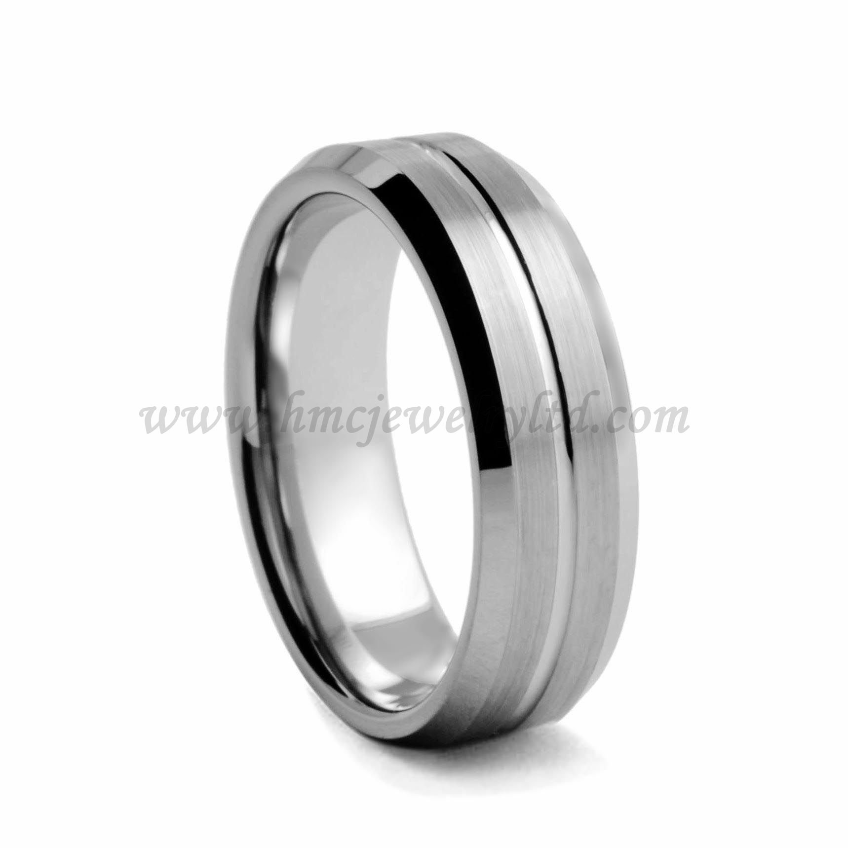 Matte Tungsten Ring Polished Bevels