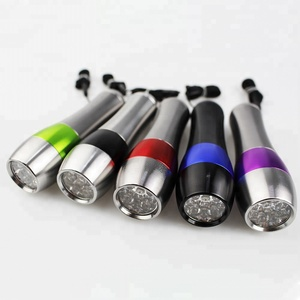 Ultra bright color customized mini 9 LED aluminum 3*A battery button switch LED flashlight