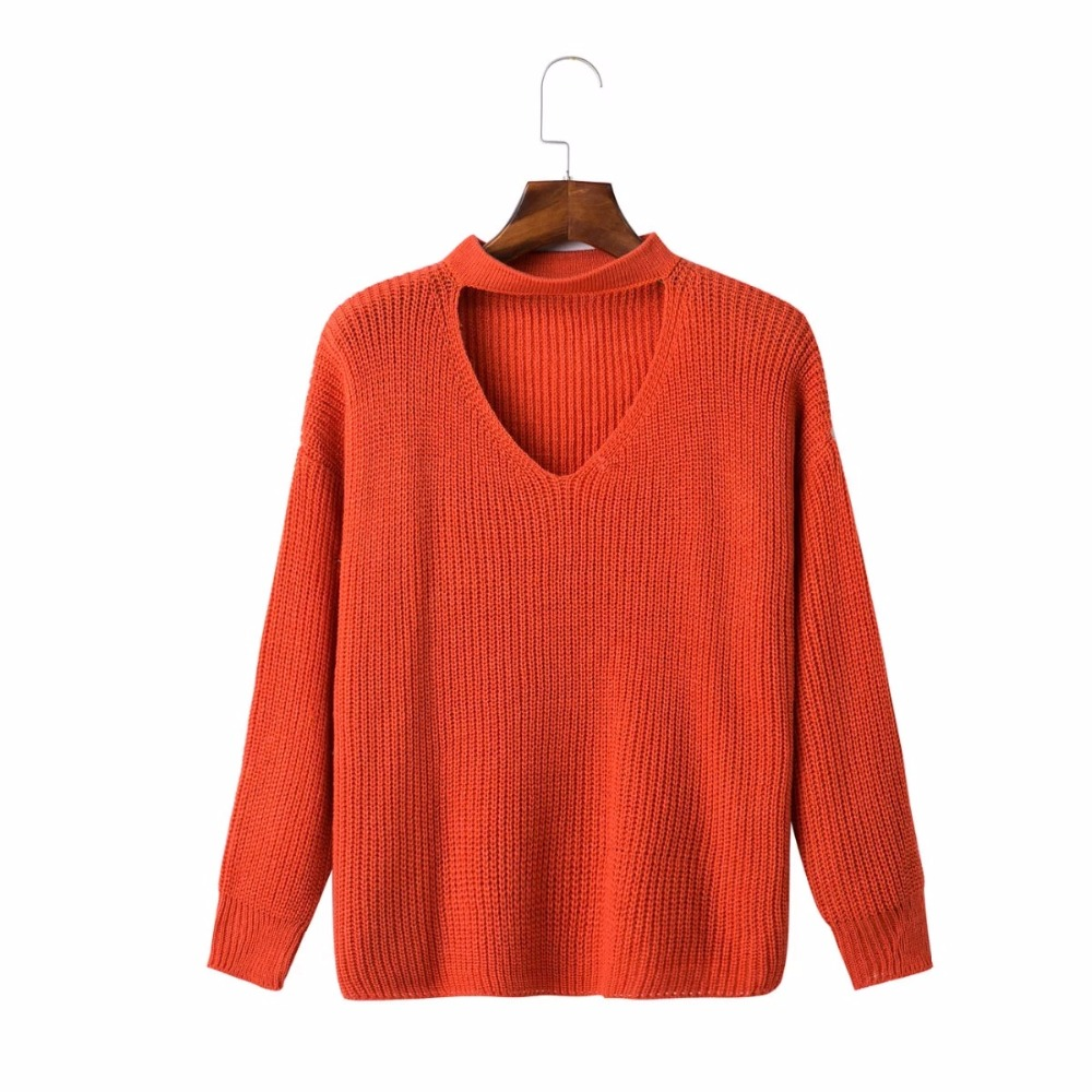 Womens Autumn Casual V Neck Loose Knit Sweater Wrap Pullover