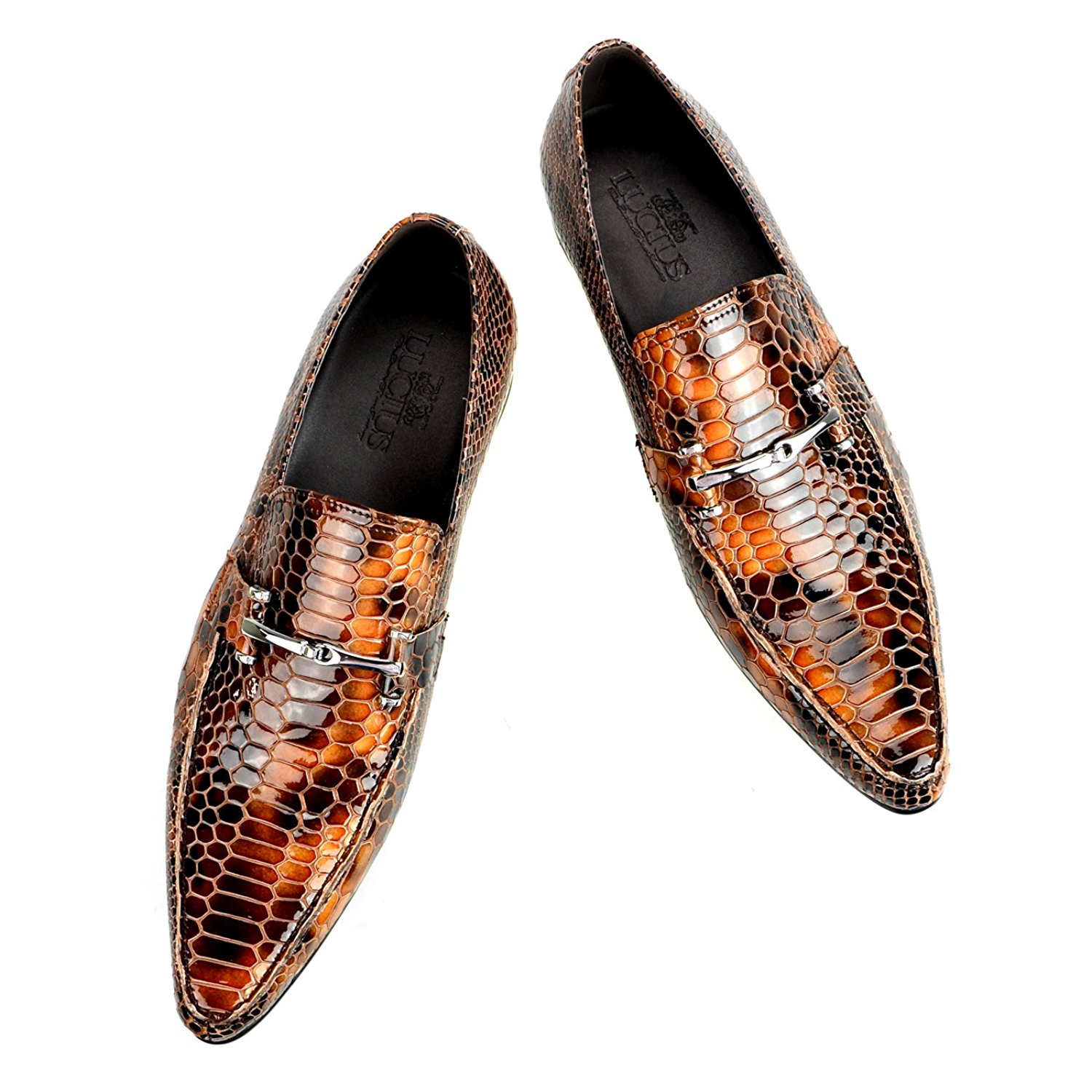 Lucius Men's Leather Dress Shoes Oxford Lizard Embossing Bit Loafers Slip-On Opera Shoes Brown