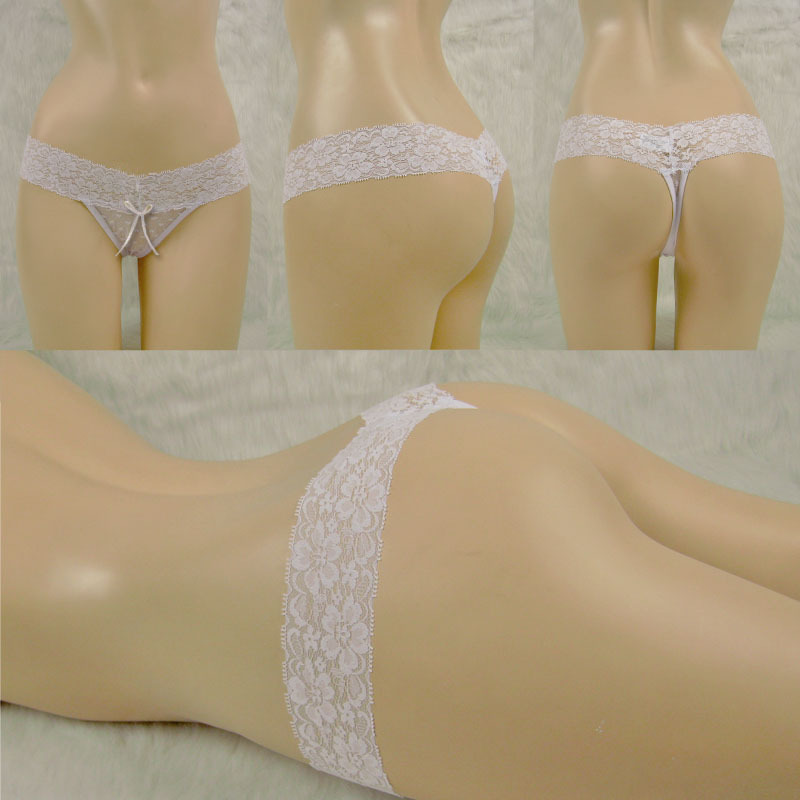 US free shipping sexy low waist thongs full sexy transparent mesh thong panties with lace waist from Guangzhou Bestway Underwear