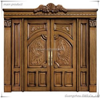 Luxury solid wooden doors prices /double door style entrance door ...