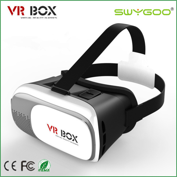 Factory price virtual reality vr 3d glasses pc material with black remote control for smartphone