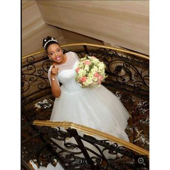 5cf1a2d4ddc NE184 image Réelle noir africain robe De bal demi-manches robe de mariée  pas cher