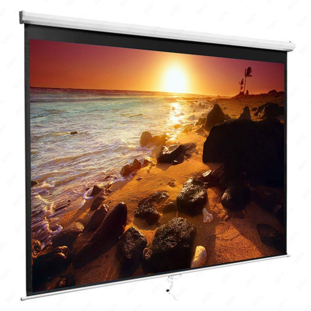 100'' 16:9 87'' x 49'' Viewing Area Manual Projector Screen Matte White (100'' 16:9 87'' x 49'' Viewing Area Manual Projector Screen Matte White)