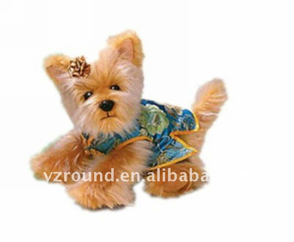 Plush cute Yorkie dog w/chinese shirt