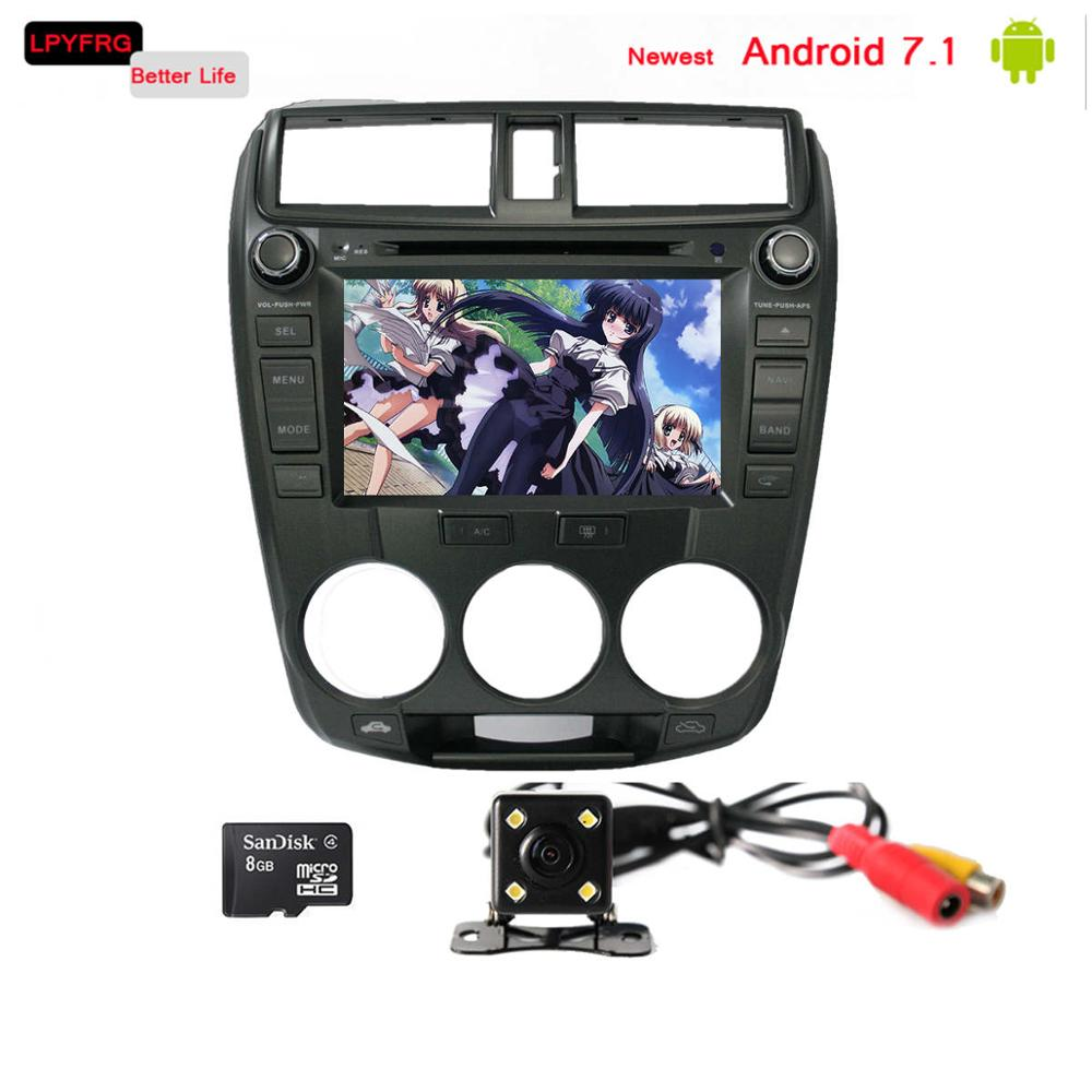 double din C600 android 7.1 car dvd stereo for honda city sx8 gps rds dab+ nanotech dvd city car driving