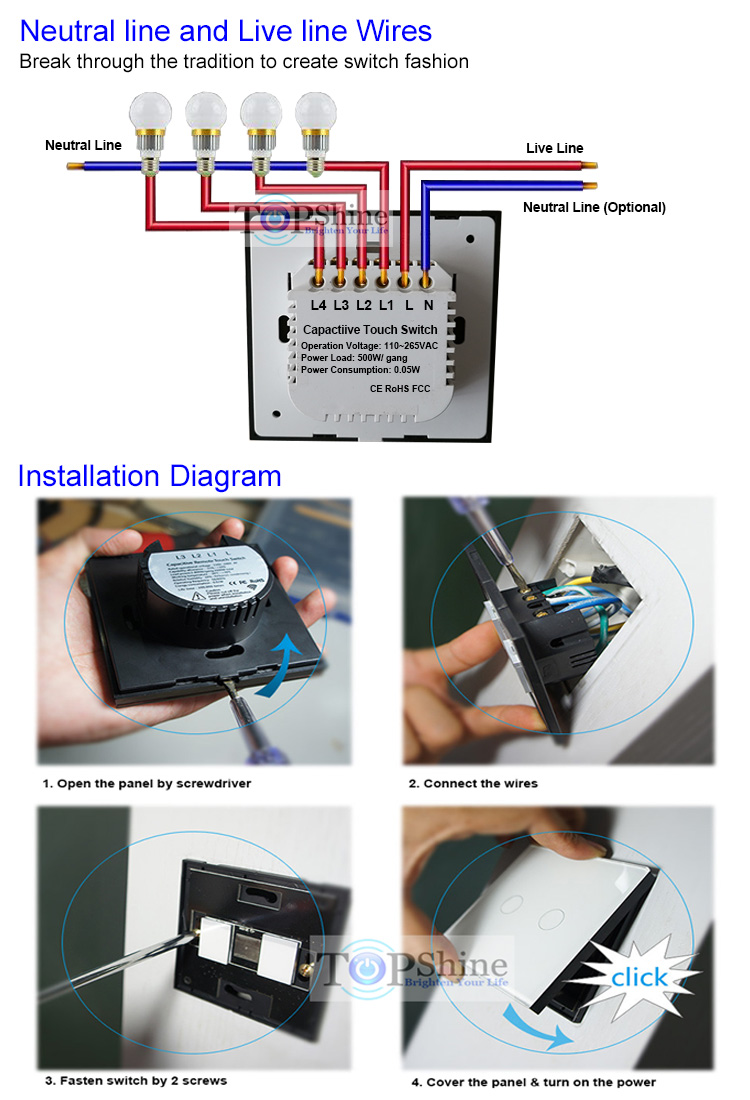 3 Gang 2 Way Wireless Remote Control Touch Panel Wall Electric Electrical Switches Wiring Diagram Installation And Digram Of Single Live Line Wires Switch