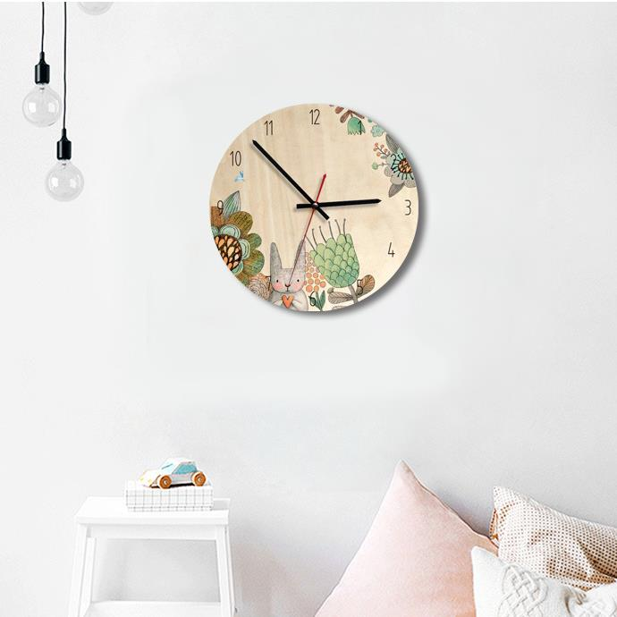 Wholesale Stock Small Order Kids Room Decorative Wood Cartoon Wall Clock