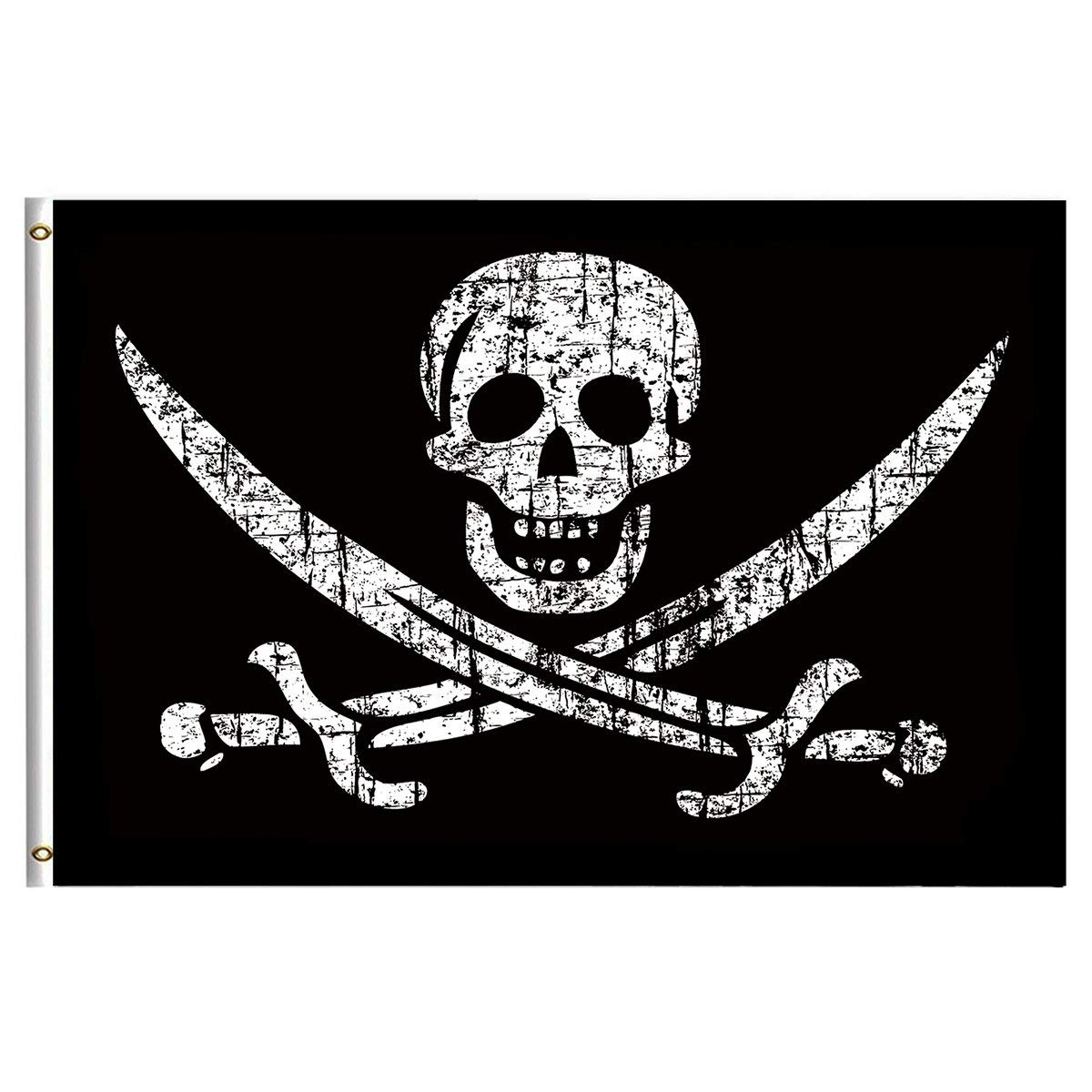 Pirate Flags Jolly Roger Flag 3x5 Feet with Brass Grommet Double Stitch Pirate Jack Captain Skull Sword Banner Garden Flag House Breeze Decorations for Indoor Outdoor Home Boat Yacht Car