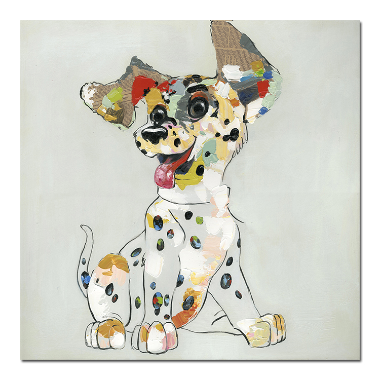 Hand drawn canvas oil painting colorful dog modern abstract children's room decoration Dog Art Wall Hanging  Painting