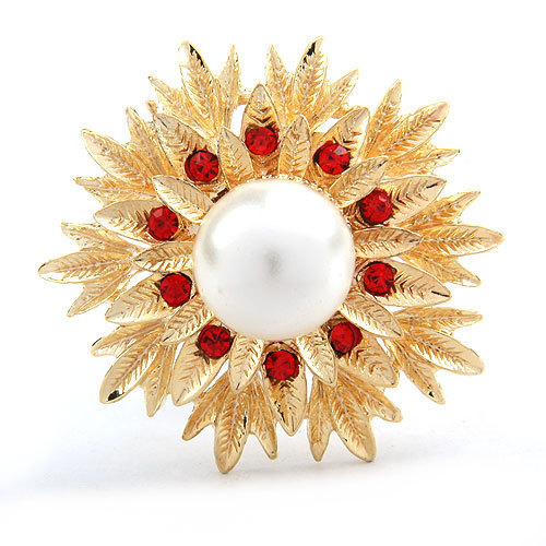 Modogirl Handmade Brooches Pins Beautiful Red Stone Brooch Pin Crystal Flower Simulated Pearl Corsage