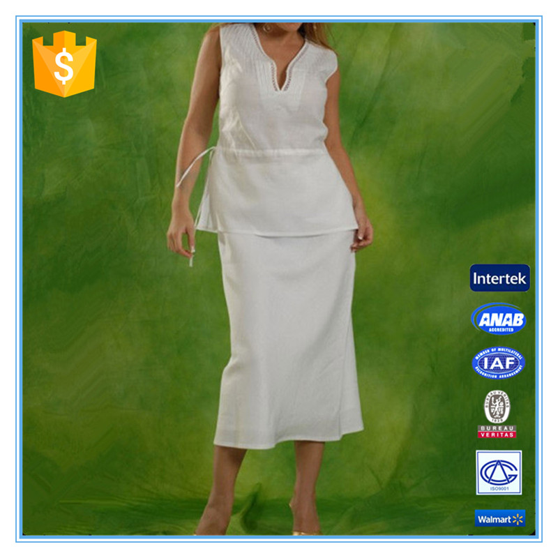 Comfortable embroidery cutwork custom color long woven ramie uniform ladies white skirt suit office suits for women