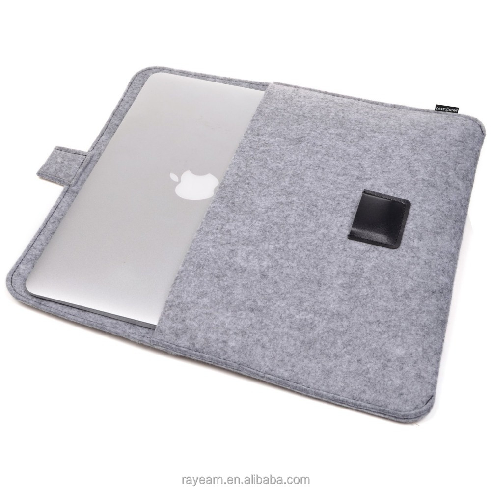 New Design Gray Color Felt Laptop Sleeve for MacBook