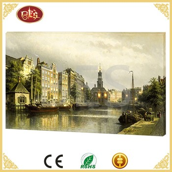 Customized Wall Decoration scenery City Building Canvas Painting
