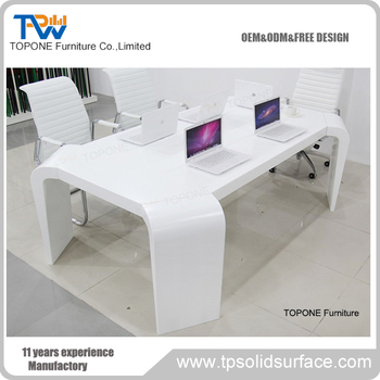 modern white color acrylic solid surface 6 seats marble office conference table design with power outlets