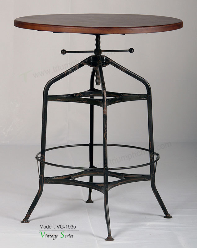 Triumph Antique Metal Toledo Round Table /vintage Industrial Bar ...