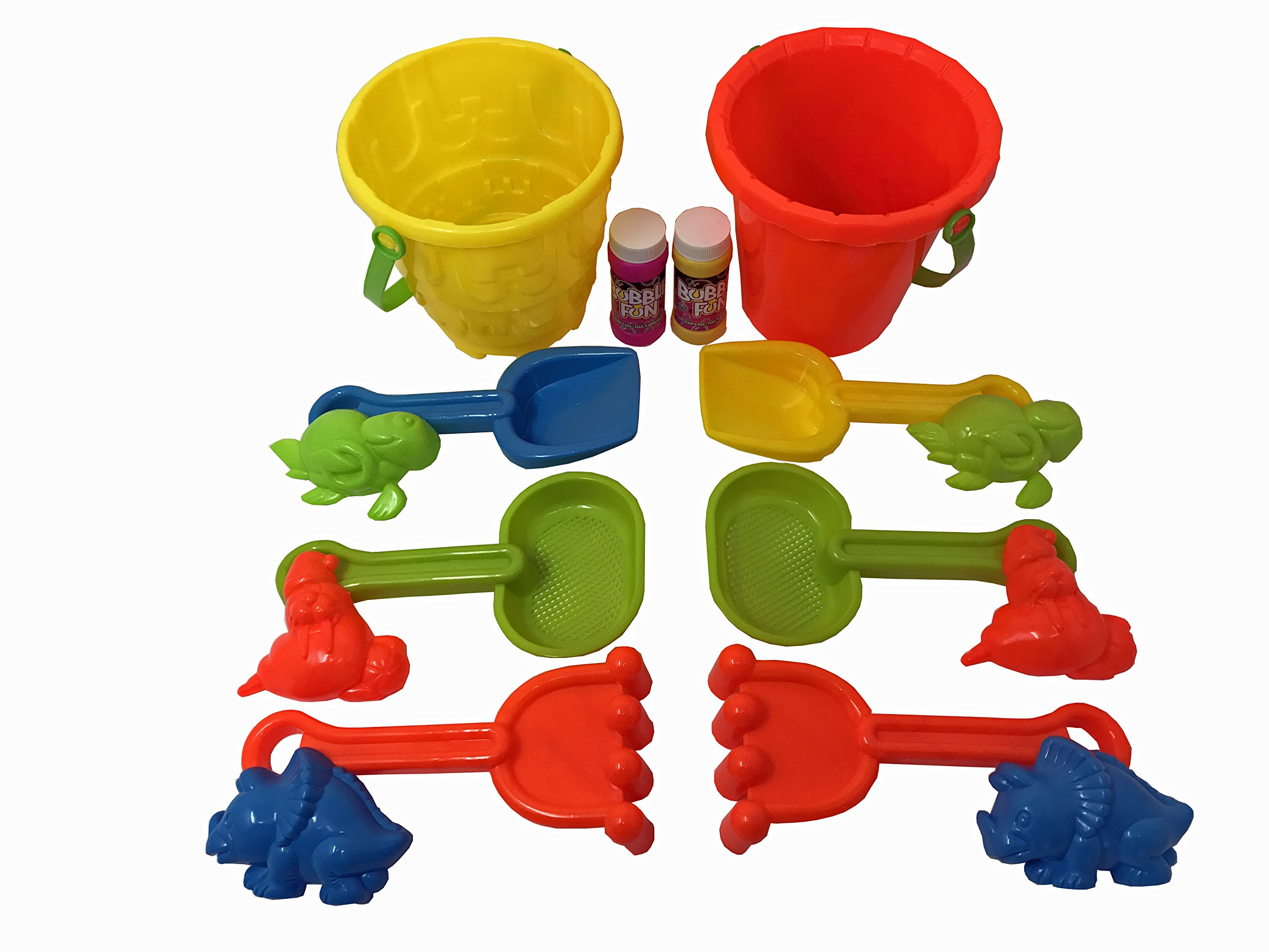 Happy Kidz Beach Bucket Toy Set | 6 Piece Bright Colorful Set (2 Sets) | 2 Buckets, 2 Assortment Pack of Sand Tools & Sand Animal Molds | PLUS FREE Gift!! - 2 Pack of Crazy Bubbles! | Have Fun!!